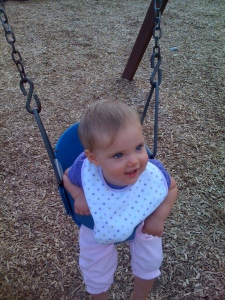 Sadie's First Go on the Swings