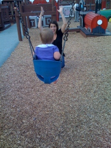 Mommy Enjoying the Magic of the Swing